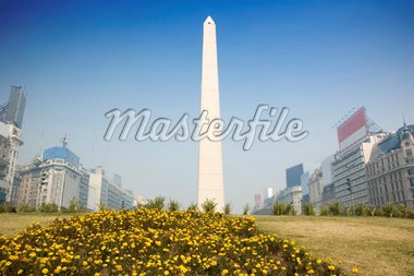 In the center of Buenos Aires, Argentina, stands this obelisk, an historic momument commemorating the 400 year anniversary of the city. Stock Photo - Royalty-Free, Artist: microstock, Code: 400-04019194