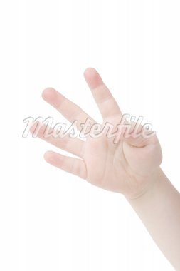 Little child hand with four fingers up on white background Stock Photo - Royalty-Free, Artist: melking, Code: 400-04020115