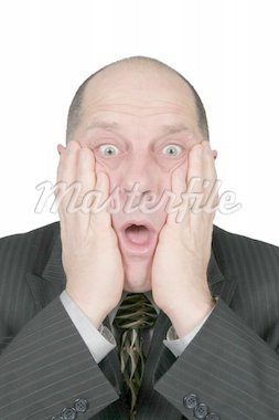 Business man with hands to face with shocked expression Stock Photo - Royalty-Free, Artist: melking, Code: 400-04020192