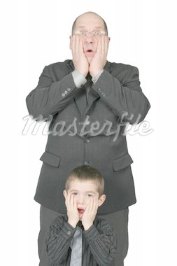 Big Business Man and Little Business Man together with hands to there face Stock Photo - Royalty-Free, Artist: melking, Code: 400-04020216