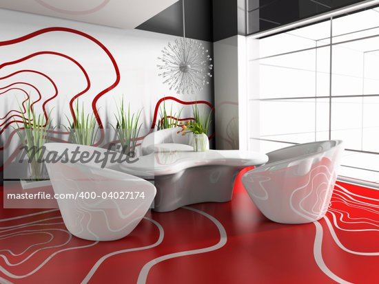 dining table in modern cafe 3d image Stock Photo - Crestock Royalty-Free, Artist: kash76, Code: 400-04027174