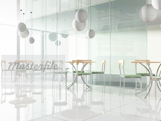 dining table in modern cafe 3d image Stock Photo - Crestock Royalty-Free, Artist: kash76, Code: 400-04028114