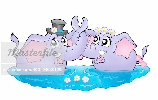 Color illustration of two elephants in water. Like bride and groom. Stock Photo - Royalty-Free, Artist: clairev, Code: 400-04030199