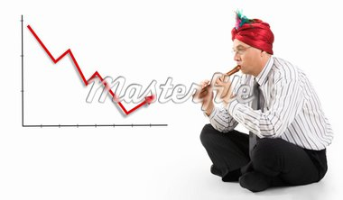 Conceptual image of man playing the pipe to incline finances Stock Photo - Royalty-Free, Artist: pressmaster, Code: 400-04051413
