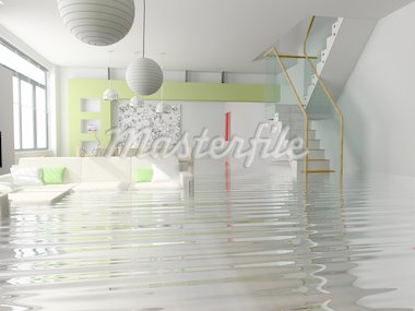 modern interior with stair under the water(3D) Stock Photo - Royalty-Free, Artist: vicnt, Code: 400-04062698