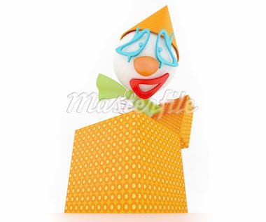 clown in a box Stock Photo - Royalty-Free, Artist: chamomille, Code: 400-04063289