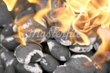 Charcoals engulfed in flames Stock Photo - Royalty-Free, Artist: klikk, Code: 400-04064140