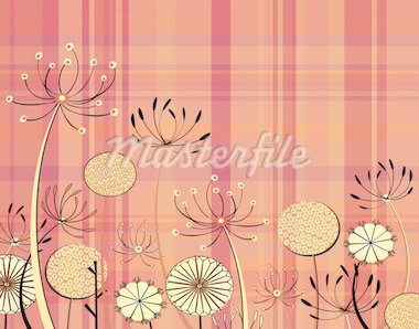 Editable vector illustration of generic umbellifer flowers and tartan pattern Stock Photo - Royalty-Free, Artist: tawng, Code: 400-04069708