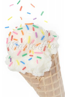 Vanilla Ice Cream Cone topped with colorful sprinkles Stock Photo - Royalty-Free, Artist: jlvimageworks, Code: 400-04069752