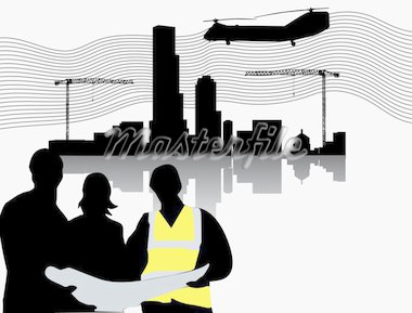 Silhouette of construction site with crane towers and builders Stock Photo - Royalty-Free, Artist: BooblGum, Code: 400-04084710