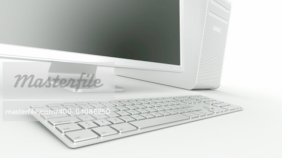3d rendering of a stylish computer in aluminum  Stock Photo - Royalty-Free, Artist: zentilia, Code: 400-04086250
