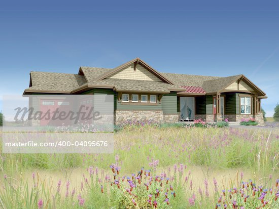 3d Model of estate house photo-matched in landscaped foreground Stock Photo - Royalty-Free, Artist: 3000ad, Code: 400-04095676