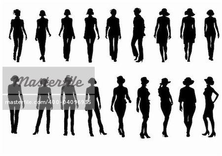 vector drawing silhouettes on a white background on the topic of fashion. file saved in Illustrator 8 format eps