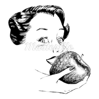 Vintage 1950s etched-style woman eating an apple.  Detailed black and white from authentic hand-drawn scratchboard. Stock Photo - Royalty-Free, Artist: dorisrich, Code: 400-04105994
