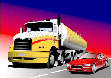 Car and truck on the road. Vector illustration Stock Photo - Royalty-Free, Artist: leonido, Code: 400-04112482