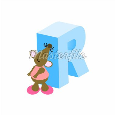 Happy Mouse with upper case letter R Stock Photo - Royalty-Free, Artist: jennylsolomon, Code: 400-04117124