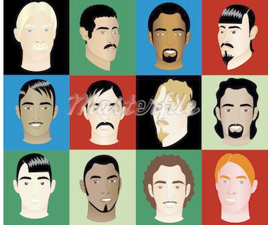 Twelve different Men of different races and cultures with or without colorful background, see my other illustrations. Diversity Stock Photo - Royalty-Free, Artist: BasheeraDesigns, Code: 400-04123126