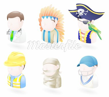 An avatar people web or internet icon set series. Includes a doctor, native American, pirate, builder or construction worker or engineer, a mummy and a cricket player, sports man. Stock Photo - Royalty-Free, Artist: Krisdog, Code: 400-04123358