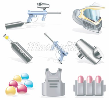 Set of detailed paintball equipment icons Stock Photo - Royalty-Free, Artist: tele52, Code: 400-04124245