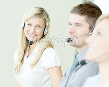 Businesspeople working in the office with headsets Stock Photo - Royalty-Free, Artist: 4774344sean                   , Code: 400-04138241