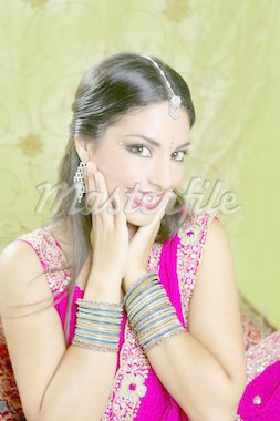 Beautiful indian brunette young woman with traditional fashion Stock Photo - Royalty-Free, Artist: lunamarina                    , Code: 400-04140652
