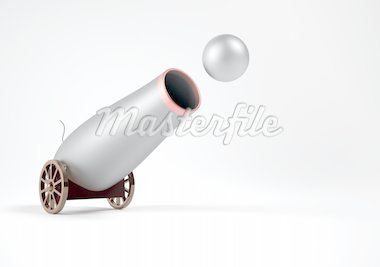 Conceptual old canon shooting with ball - 3d render Stock Photo - Royalty-Free, Artist: orla, Code: 400-04152965