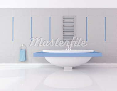 modern blue and gray bathroom - rendering Stock Photo - Royalty-Free, Artist: archidea, Code: 400-04156975