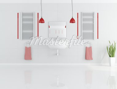 contemporary gray and red bathroom - rendering Stock Photo - Royalty-Free, Artist: archidea, Code: 400-04156977