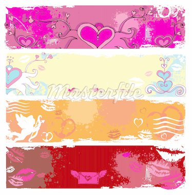 Set of Valentine's day grunge banners, with space for your text Stock Photo - Royalty-Free, Artist: dianka, Code: 400-04161710