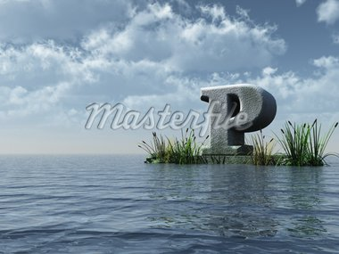 letter p monument in water landscape - 3d illustration Stock Photo - Royalty-Free, Artist: drizzd, Code: 400-04161937