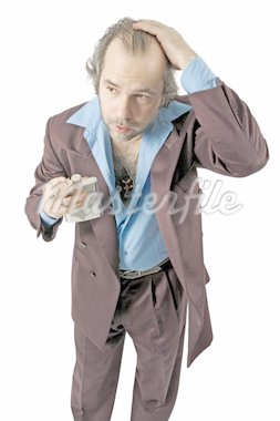 A sleazy car salesman, Con man, retro suit wearing cool guy with worried facial expression drinking from a flask and smoking.  Stock Photo - Royalty-Free, Artist: sumners, Code: 400-04163370