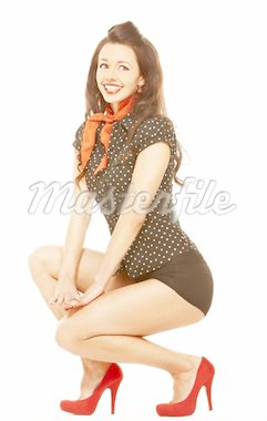 Pinup girl isolated over white background Stock Photo - Royalty-Free, Artist: mihhailov, Code: 400-04163723