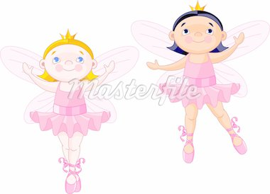  Vector illustration of two little fairies dressed like ballerinas Stock Photo - Royalty-Free, Artist: Dazdraperma, Code: 400-04165217
