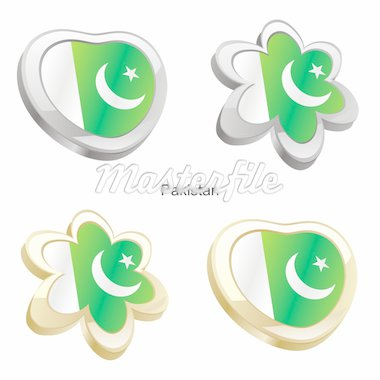 fully editable vector illustration of pakistan flag in heart and flower shape Stock Photo - Royalty-Free, Artist: pilgrimartworks, Code: 400-04165369