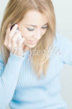 woman talking on cellphone and smiling. Selective focus, Vertical shape Stock Photo - Royalty-Free, Artist: diego_cervo, Code: 400-04167349