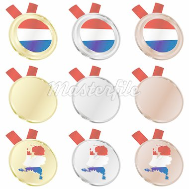 fully editable netherlands vector flag in medal shapes Stock Photo - Royalty-Free, Artist: pilgrimartworks, Code: 400-04170717