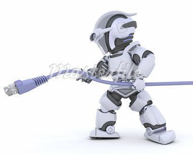 3D Render of a robot with RJ45 network cable Stock Photo - Royalty-Free, Artist: kirstypargeter, Code: 400-04174453