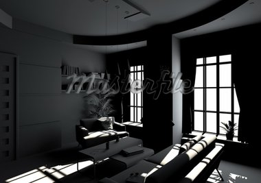 modern living room interior in BW style(3D rendering) Stock Photo - Royalty-Free, Artist: vicnt, Code: 400-04174735