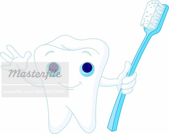Cartoon Tooth Character holding toothbrush Stock Photo - Royalty-Free, Artist: Dazdraperma, Code: 400-04177405