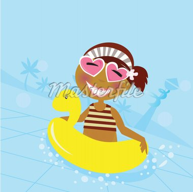 Cute girl in water pool. Vector Illustration. Stock Photo - Royalty-Free, Artist: lordalea, Code: 400-04180353
