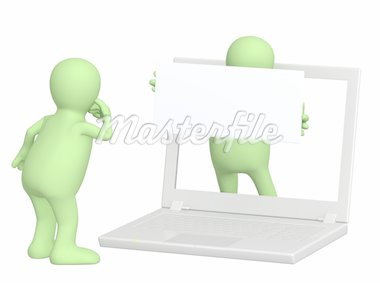 3d puppet with information board and laptop Stock Photo - Royalty-Free, Artist: frenta, Code: 400-04185153