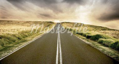 Long straight road at sunset Stock Photo - Royalty-Free, Artist: kwest, Code: 400-04186610