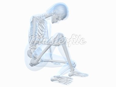 3d rendered illustration of a sitting female skeleton with painful knee Stock Photo - Royalty-Free, Artist: Eraxion, Code: 400-04191442