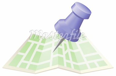 An illustration of a street map with drawing push pin. Can be used as an icon or illustration in its own right. Stock Photo - Royalty-Free, Artist: Krisdog, Code: 400-04193720