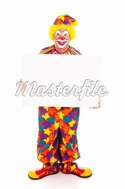 Happy clown holding a blank sign.  Full body on white. Stock Photo - Royalty-Free, Artist: lisafx, Code: 400-04200010