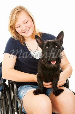 Pretty teen girl in a wheelchair holding her Scotty dog.  White background. Stock Photo - Royalty-Free, Artist: lisafx, Code: 400-04200043