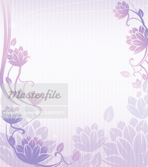 illustration drawing of beautiful purple lotus flower pattern