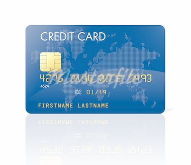 Blue credit card with world map - isolated on white with clipping path Stock Photo - Royalty-Free, Artist: daboost, Code: 400-04204358