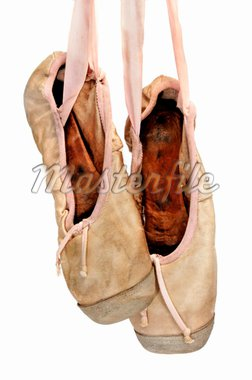 a pair of old pointe shoes isolated on a white background Stock Photo - Royalty-Free, Artist: nito, Code: 400-04205604