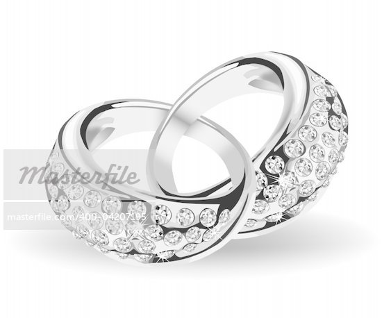 Silver wedding rings and diamonds Vector illustration